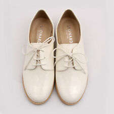 Women New Enamel Oxford Shoes Loafer FS-151 White Color Comfortable Shoes