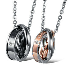 Fashion Stainless Steel Couple Necklace Love Three Bands Pendent Gifts Jewel 862