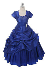 New Flower Girls Full Length Royal Blue Dress Pageant Party Easter + Free HB