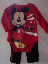 "INFANT/BABY BOYS 2PC ""DISNEY"" ""MICKEY MOUSE"" CREEPER & PANTS SET     NWT & NWOT"