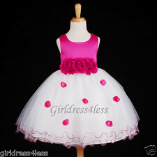Fuchsia/Hot Pink Pageant Party Halloween Costume Girl Dress 6-12M 18M 2 4 6 8 10