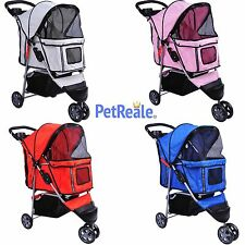 PetReale™ Pet Stroller 3 Wheels Dog Cat Carrier deluxe Cup Holder Folding leash