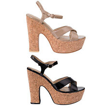 Hidden Fashion Patent Leather Strappy Chunky Corked Platform Heeled Sandals