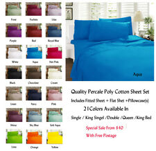 New Percale Sheet Set Fitted With 38cm Wall 21 Colors For All Bed Sizes