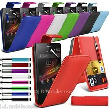 PU leather Flip Case, Retractable Stylus Pen & SP for Various Sony Mobile Phones