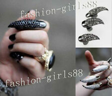 Hot Gothic Punk Cool Rock Eagle Claw Rhinestones Finger Nail Hook Ring