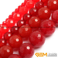 "Red Jade Gemstone Faceted Round Beads For Jewelry Making Strand 15"" 4mm 6mm 8mm"