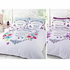 FRENCH PARIS DUVET COVER – Shabby Chic Floral Butterfly White Bedding Bed Set