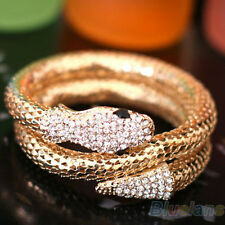Women Vintage Retro Punk Rhinestone Curved Jewelry Snake Cuff Bangle Bracelet