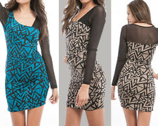 Mesh Net Sleeve Asymmetric Triangle Print Dress