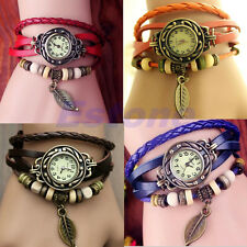Women New Design Retro Leather Bracelet leaf Decoration Quartz Wrist Watch