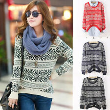 Fashion Women Flower Round Neck Long Sleeves Sweater Knitwear 4 Colors GAU