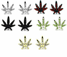 Mens Iced Marijuana Mary Jane Black Gold Silver Red Crystal Earrings Cz Hip Hop