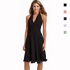 New Halter Neck Chiffon Formal Cocktail Bridesmaid Evening Party Dress co0947