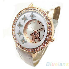 Women Vogue Butterfly Pattern Crystal PU Leather Band Quartz Wrist Watch B88U