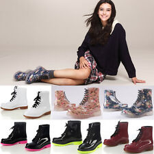 2014 Womens Lace-Up Transparent Rubber Jelly Candy Colors Flat Short Rain Boots