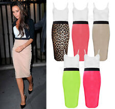 New Womens Victoria Beckham Panel V Neck Celeb Style Strappy Bodycon Midi Dress