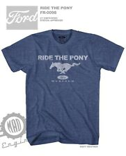 Ford Mustang Ride The Pony Navy Heather Color Licensed T-Shirt FO9028WM