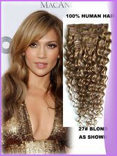 Deep Curly Clip In Human Hair Extension Deep Curly Clip On Hair Blonde Color 27#
