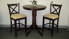 "Wood 36"" Bistro Round Counter Table and 2 Counter Height Stools Dinning Set"