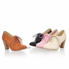 Womens Ladies Pumps High Chunky Heel Oxfords Ankle Bootie Lace Up Shoes YD409