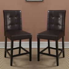 Two Brown Faux Leather Counter Bar Stools High Dining Chairs 3 Optional Height