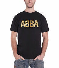 ABBA Classic Gold Logo Official Mens New Black T Shirt