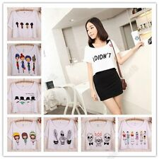 Girls Short Sleeve T-Shirt Cartoon Pattern Cropped Top Batwing Sleeve Blouse