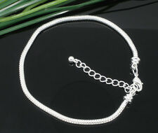 Snake Chains Bracelet Silver Plated Clasp Fit European Charms Beads CY605