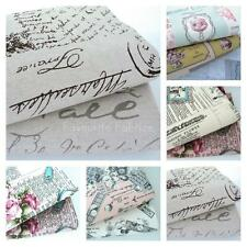 FRENCH SCRIPT NATURAL - LINEN LOOK FABRIC100% COTTON buttons macaroons writing