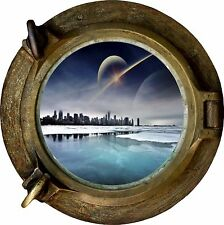 Huge 3D Porthole Fantasy City View Wall Stickers Film Mural Art Decal Wallpaper