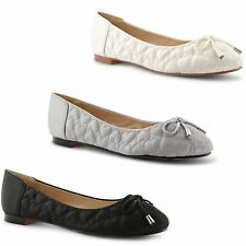 New Womens Ladies Quilted Flat Ballet Dolly Ballerina Pumps Casual Shoes Size