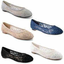 New Ladies Flat Dolly Ballerina Ballet Pumps Womens Lace Diamante Shoes Size