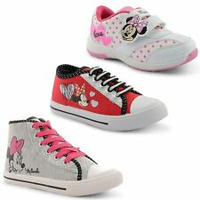 New Girls Kids Cartoon Minnie Mouse Lace Up Gliiter Hi Top Trainers Size UK 10-2