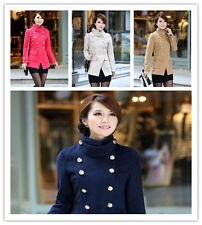 Fashion Women Lady Slim Standing Collar Double-breasted Coats Jacket Outwear