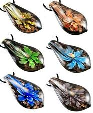 Gold Foil Leaf Murano Art Lampwork Glass Pendant Necklace With Cord Xmas Gift