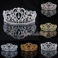 4 Color Crystal Tiara Crown Veil Headband Wedding Prom Pageant Crowns Headpiece