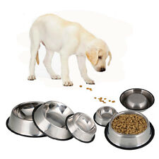 Stainless Steel No tip No Slip Dog Puppy Pet Food or Water Bowl Dish All Size