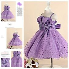 PU1688 Purple Wedding Flower Girls Pageant Dresses AGE SZ 1,2,3,4,5,6,7,8,10,12T