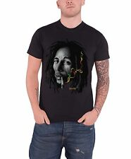 Bob Marley Rasta Smoke Face Official Mens New Black T Shirt