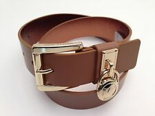 MICHAEL KORS Women's Belt ~ Luggage (Tan) w/ Gold Buckle & MK Logo Charm *New*