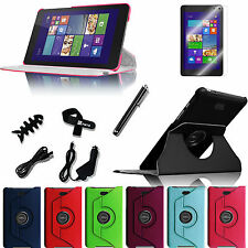 For Dell Venue 8 Pro Windows Tablet Rotating Leather Case Cover 8in1 Bundles