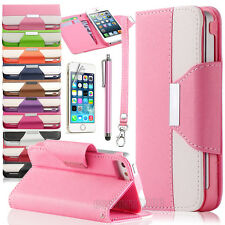 PU Leather Flip Pouch Wallet Stand Case Cover For iPhone 5 5S w/Screen Protector