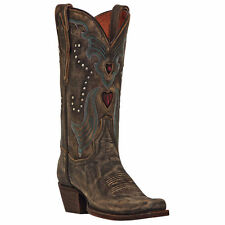 "Dan Post Women's 11"" Tan Vintage Hearts Western Cowboy Cowgirl Boots DP3575"