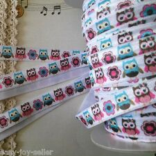 15mm FOE Elastic Stretch Ribbon Printed Owls Flower White Bottom DIY 619 E#