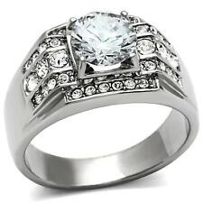 MEN'S STAINLESS STEEL ROUND CUT CUBIC ZIRCONIA CZ SQUARE MULTISTONE RING SZ 9-13