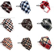 Men's Fashion Checked Neck Tie Wool Wedding Plaid  Necktie Narrow Slim Skinny