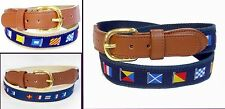 Nautical Boat Signal Cotton Embrodiary Ribbon Canvas Leather Belt BW9807N -9808
