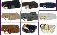 "Men's Stretch Braided Elastic Golf Belt 1.25"" Wholesale,  New Gold Buckle BW7100"