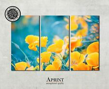 Wall Art Canvas Picture Print - Yellow Flowers - ready to hang 3 panel canvas